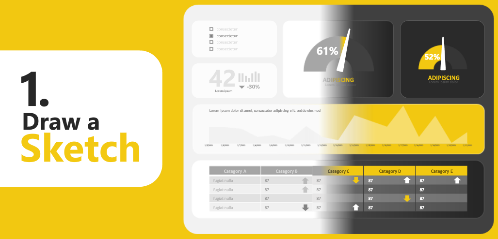 Power BI wireframe sketch template design
